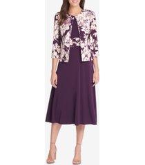 jessica howard petite floral-print jacket & midi dress