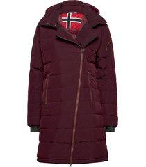 bod down lady coat gevoerde lange jas rood bergans