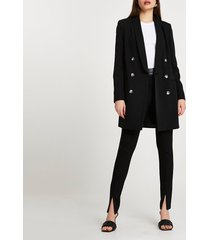river island womens black shawl collar double breasted coat
