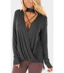 zanzea camisa de corte bajo con gargantilla para mujer blusas con cuello en v cruzado blusa asimétrica suelta gris oscuro -gris