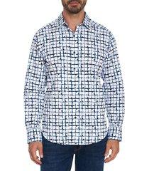 robert graham men's potter classic-fit printed sport shirt - blue - size xl