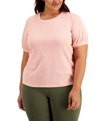 style & co plus size textured short sleeve top, created for macy's