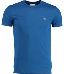 lacoste t-shirt kobaltblauw ronde hals th6709/z7z