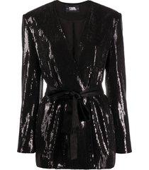karl lagerfeld belted sequin-embellished jacket - black