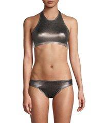 norma kamali women's side stripe metallic bikini top - gunmetal - size xs