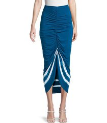 ruched tie-dye high-low skirt