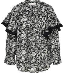 see by chloe graphic peonies printed blouse