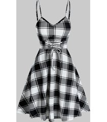 lace up fit and flare plaid slip dress
