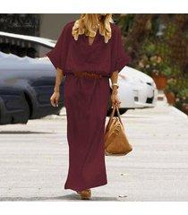 zanzea manga larga para mujer cuello en v de algodón dreess floja ocasional de túnica holgados vestidos maxi -rojo