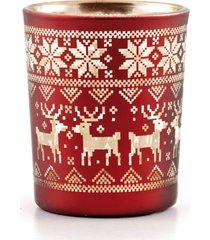 porta vela natalino vermelho renas e flocos de neve ouro 5cm