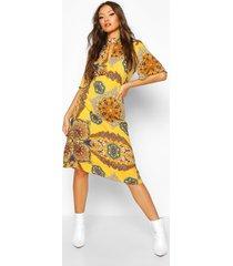 high neck paisley print midi dress, mustard