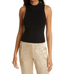 women's frame rib mock neck sleeveless sweater, size x-small - black