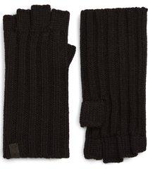 men's allsaints ribbed fingerless gloves, size one size - black