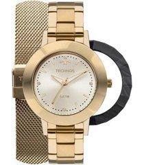 relógio feminino technos 2035mlj/t4x pulseira aço dourada