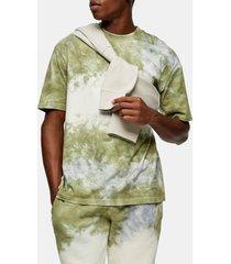 men's topman black & blue tie dye men's t-shirt, size small - green