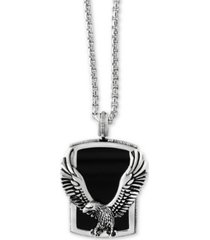 effy men's onyx (31 x 20mm) eagle pendant necklace in sterling silver