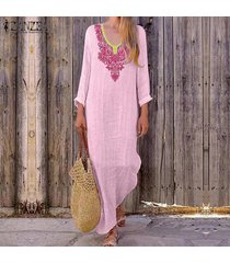 zanzea manga larga para mujer vacaciones en la playa vestido de las señoras de los vestidos maxi flojo ocasional -rosado