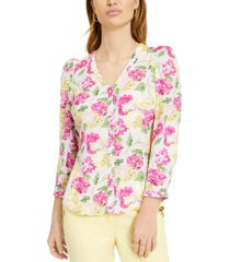 bar iii floral button-front top, created for macy's