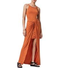 women's allsaints sami sleeveless maxi dress, size 8 us - orange