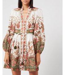 zimmermann women's empire batik short dress - khaki batik - 3/uk 14