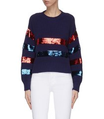 'breton' sequin embellished stripe sweater