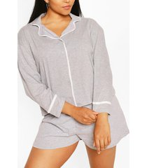 plus jersey pyjama met lange mouwen, grijs