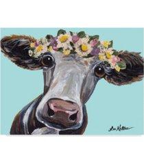 """hippie hound studios cow cora flower crown blue canvas art - 20"""" x 25"""""""