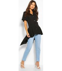 button front shirt with waterfall hem, black