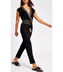 river island womens black embellished v neck beach jumpsuit