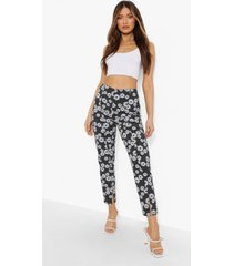 bloemenpatroon skinny fit broek met split, black