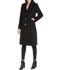women's via spiga notch collar wool blend coat, size 8 - black