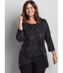 lane bryant women's side-knot tunic top 10/12 black and white dot