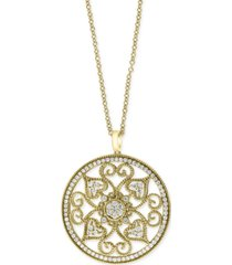 "effy diamond vintage swirl 18"" pendant necklace (1-1/6 ct. t.w.) in 14k gold"