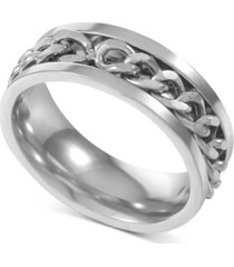 inc men's silver-tone chain inlay band, created for macy's