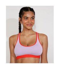 top esportivo feminino ace bicolor com bolso e bojo removivel decote nadador lilás