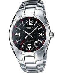 reloj casio ef-125d-1a para caballero original plateado-negro