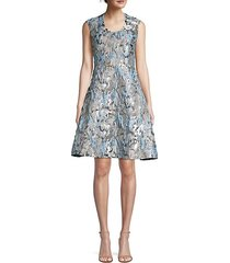 metallic jacquard fit-&-flare dress