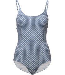 leola pattern swimsuit baddräkt badkläder blå morris lady