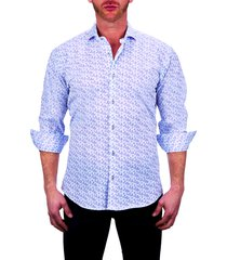 men's maceoo einstein paisley stretch button-up shirt, size x-large - white