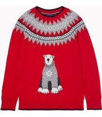 tommy hilfiger women's essential fair isle bear sweater scarlet - xs