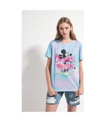 blusa alongada manga curta em algodão tie dye com estampa mickey mouse   mickey mouse   multicolor   g