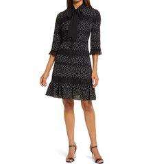shani polka dot three-quarter sleeve dress, size 2 in black at nordstrom