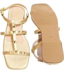sandalia plana con taches dorado ambar lem ref. s00013-03