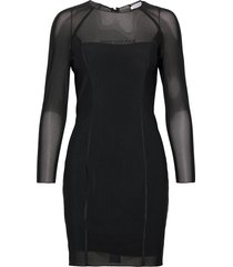 body-con mesh double layer dress korte jurk zwart calvin klein jeans