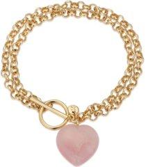 unwritten fine silver plated genuine rose quartz heart toggle chain link bracelet in gold