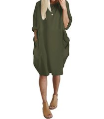 verde militar bolsillos laterales de manga larga de gran tamaño vestido