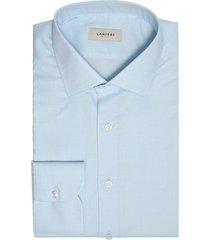 camicia da uomo su misura, albini, natural stretch principe di galles azzurra, quattro stagioni | lanieri