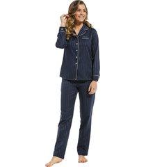 dames pyjama satijn pastunette de luxe 25212-310-6 blauw-48