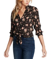 1.state floral-print tie-front top