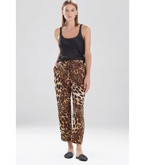 natori luxe leopard pants pajamas / sleepwear / loungewear, women's, chestnut, size m natori